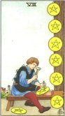Opt de Pentagrame - Eight of Pentagrams in Tarot