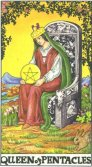 Regina de Pentagrame - Queen of Pentagrams in Tarot